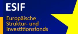 Das offizielle ESIF-Logo. Gelbe Schrift auf blauem Grund. Rechts ein Ausschnitt eines gelben Sterns.